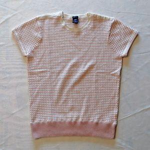 (3/$33 Deal) Gap Pink Tan Scallop Sh. Sl. Sweater